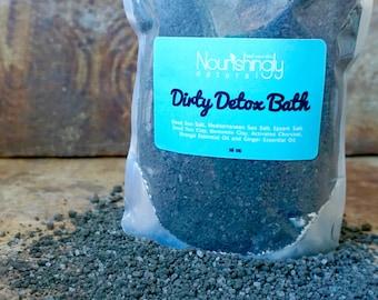 Detox Bath with Activated Charcoal, Charcoal Bath Soak, Natural Detox Spa Bath, Dead Sea Salt Soak, Dead Sea Mud Bath, 16 oz Large Bath Soak