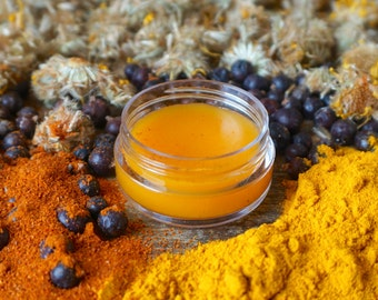 Arnica Herbal Salve, Organic Herbal Salve Infused with Arnica Flowers, Muscle Rub with Capsaicin, Turmeric Salve, Devil's Claw Root Salve