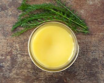 Organic Yarrow Salve with Tea Tree Oil, Natural Herbal Salve, Tea Tree Salve, Organic First Aid Salve, Hemmorhoid Balm, Gluten Free Skincare