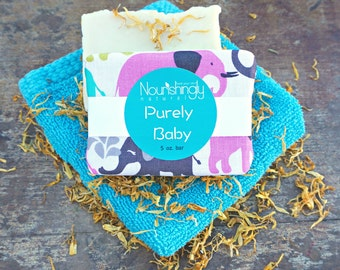 Baby Soap, Vegan Calendula Baby Soap, Natural Baby Shower Gift Soap, Fragrance Free Soap Sensitive Skin, Natural Calendula Soap, Purely Baby