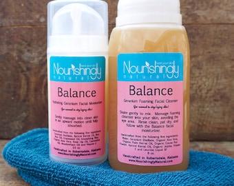 Vegan Facial Care Set, sensitive skin face wash and lotion, aging skin moisturizer, aloe facial cleanser, face cream for dry skin, rose hip