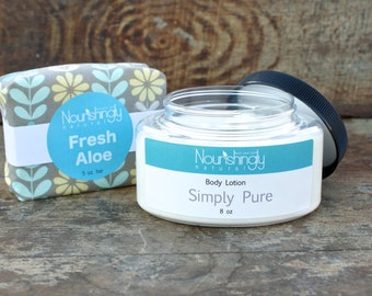 Fragrance Free Gift Set, Unscented Soap and Lotion, Sensitive Skin Bath Set, Natural Beeswax Lotion, Unscented Aloe Soap, Fragrance Free