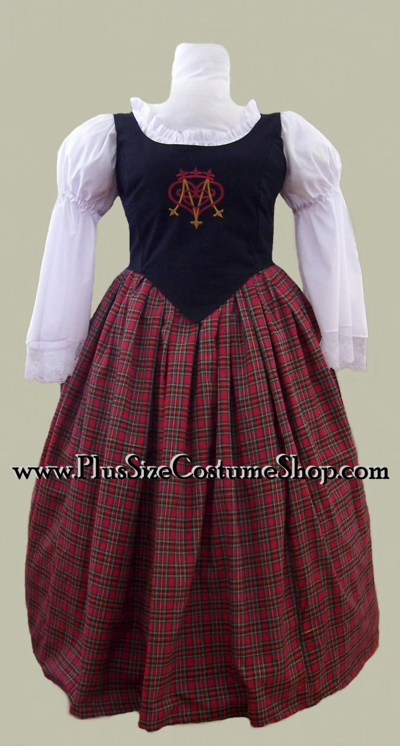 387b2281a5f PLUS SIZE Embroidered Bodice Scottish RENAISSANCE Dress Gown