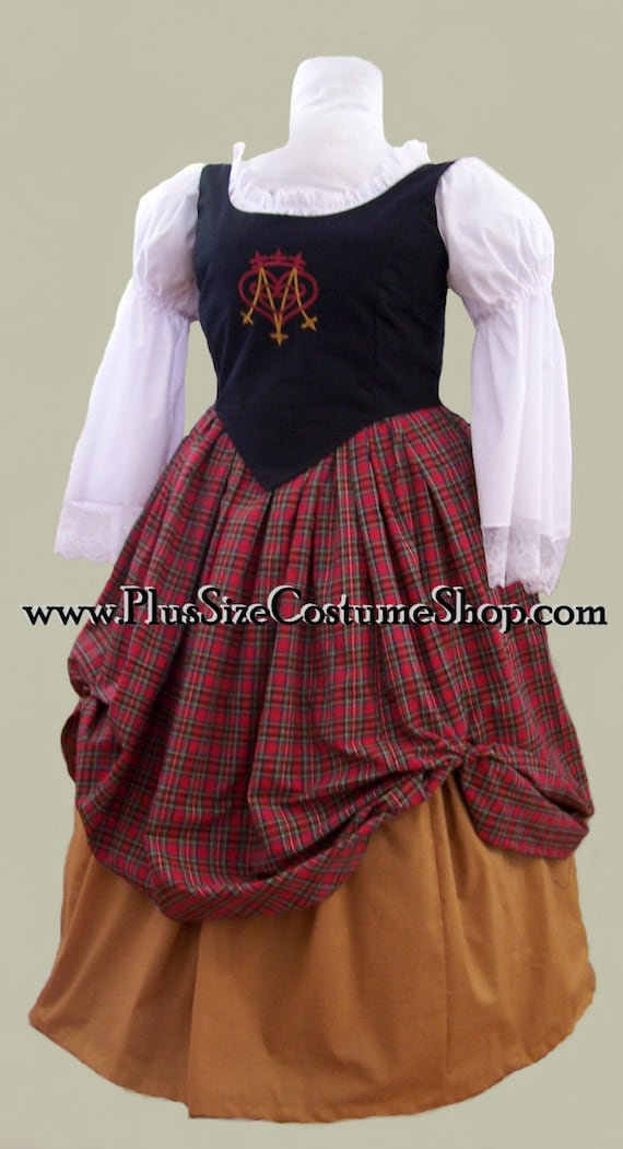 PLUS SIZE Embroidered Bodice Scottish RENAISSANCE Dress Gown Luckenbooth  Heart - 0X 1X 2X 3X 4X 5X - New