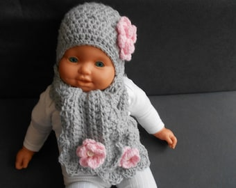 hand-made crochet baby pink and gray wool hat and scarf set