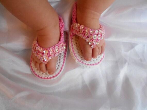 Baby-Sandalen Mädchen Baumwolle Handarbeit häkeln | Etsy