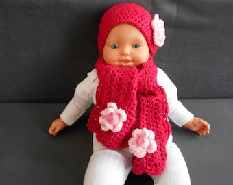hand-made crochet baby fuchsia pink poudree flower wool hat and scarf set