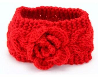 baby girl ear warmer headband is hand knitted