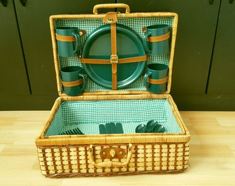 Complete Vintage Wicker Picnic Basket with set Dinnerware, Boho Basket Wicker Suitcase