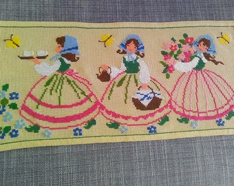 Embroidered Topper. Handmade Table Topper. Table Runner. Embroidered  Runner. Embroidered Decor. Scandinavia 1970u0027.