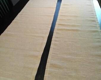 Lovely Natural Table Runner. Linen Table Runner. Linen Tablecloth. Taupe Table  Runner. Table