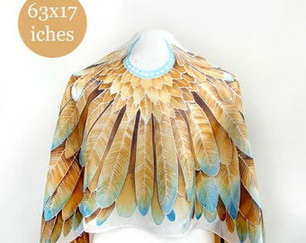 Silk scarf wings - gold wings - scarf feathers - handpainted scarves - white and gold silk scarf - yellow feathers scarves - painted scarf