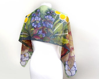 Slim silk scarf - hand painted scarves - floral scarf botanist gift - flowers spring accessories - bugle weed dandelion pansy begonia leafs
