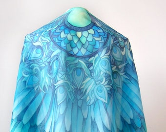 Silk Ocean Blue Wings scarf - turquoise scarves blue scarf - bird scarf - feathers scarf - teal scarf - wings on scarf big veil