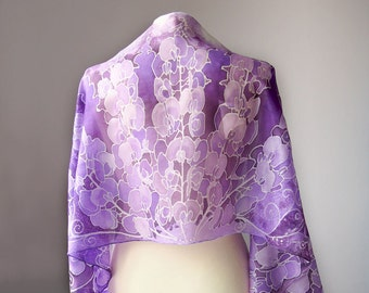 Sweet Pea silk scarf - violet scarf - purple scarves - hand painted silk scarf - flowers scarf - delicate scarves