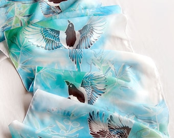 Silk scarf Magpie - hand painted scarves blue - bird scarf - four for boy magpies - new mom baby boy gift - animal art olive branch