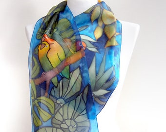 Lovebird scarf - parrot scarf - hand painted silk scarf - tropical scarf - animal bird scarves - rain forest design - monstera leafs - slim