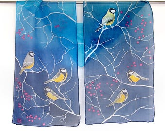 Blue Tit silk scarf / slim scarf / Long Tailed Tits / habotai scarves blue / red berries animal scarf / bird scarf / christmas gift