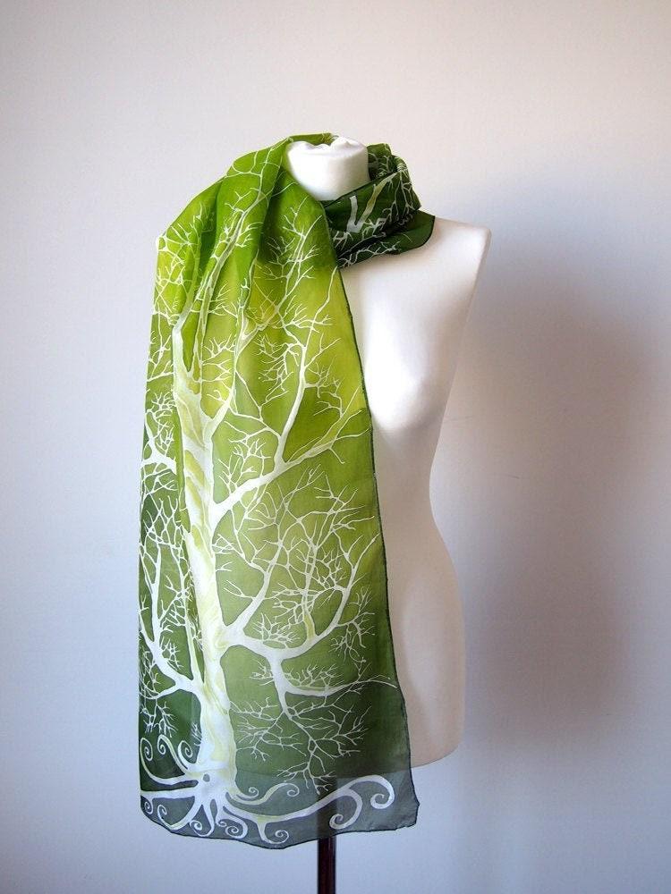 Écharpe verte feuilles Abstrait Arbres 100/% Coton Wrap Lime Navy Blue Tree Wrap New