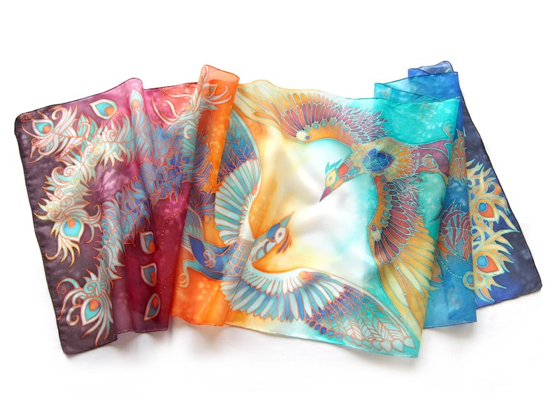 7b82f555ea7 Silk scarf hand painted with Phoenix Bird Of Paradise for 4th wedding  anniversary