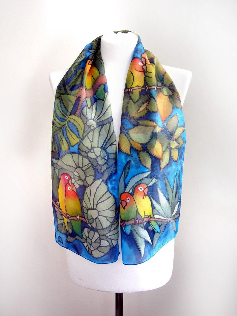 796ef031454 Lovebird scarf - parrot scarf - hand painted silk scarf - tropical scarf -  animal bird scarves - rain forest design - monstera leafs - slim