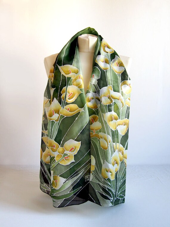 Longue écharpe de soie Calla Lily Echarpes foulard peint à   Etsy 30b1e604b67