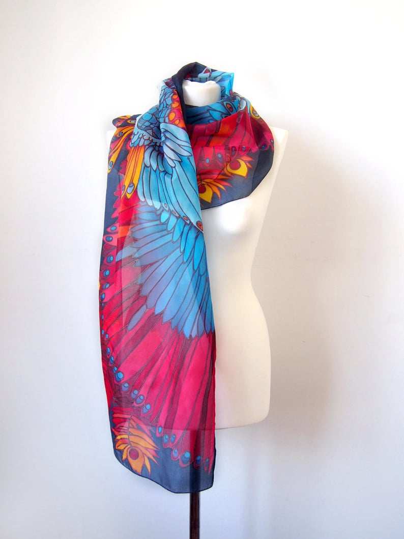 22e9712dfcf Bird scarf - Wings scarves - Feather scarf - hand painted scarf - silk  scarf Bird Of Paradise - Festival scarf - animal scarf