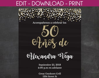 50th Birthday Invitation 50 Anos De Spanish Black And Gold Glitter Instant Template Edit Yourself Templett