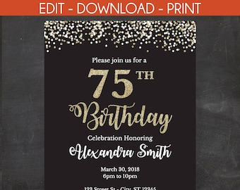 75th Birthday Invitation Invite Black And Gold Glitter Instant Template 2 Size Options 5 X 7 4 6 Edit Yourself