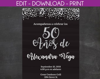 50th birthday invitations etsy