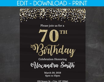 70th Birthday Invitation Invite Black And Gold Glitter Edit Youself Templett 5 X 7 4 6 Template