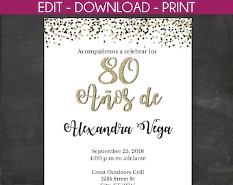 80 Anos De Spanish 80th Birthday Invitation White With Black And Gold Glitter Instant Template Edit Yourself