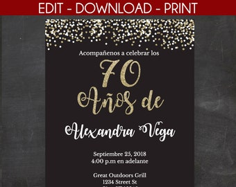 70 Anos De Spanish 70th Birthday Invitation Black And Gold Glitter Template Edit Yourself