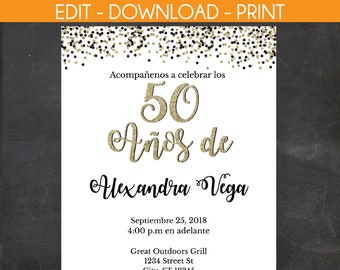50 Anos De Spanish 50th Birthday Invitation White With Black And Gold Glitter Instant Template Edit Yourself
