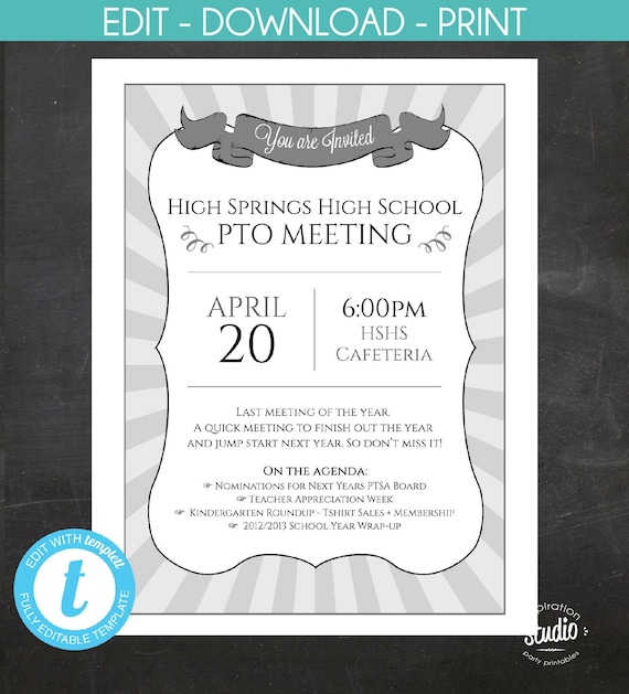 Meeting Announcement Flyer - Custom Printable - Great for