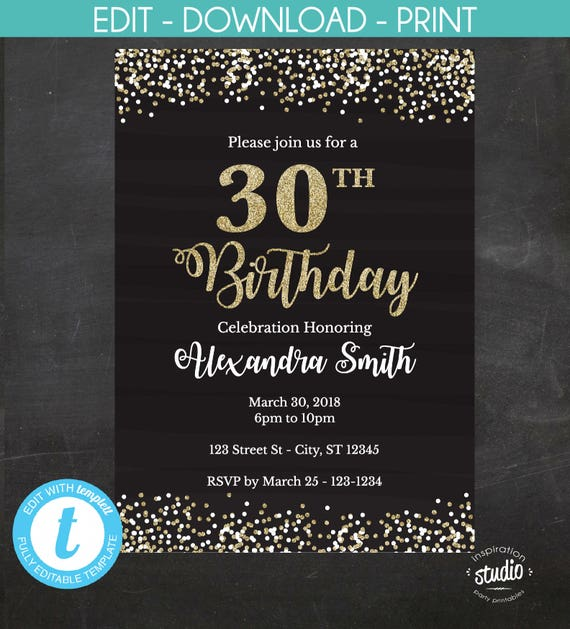 30th Birthday Invitation Invite Black And Gold Glitter Instant Template Edit Yourself Custom Printable Templett