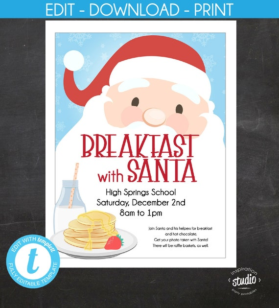 breakfast with santa event flyer christmas flyer holiday flyer