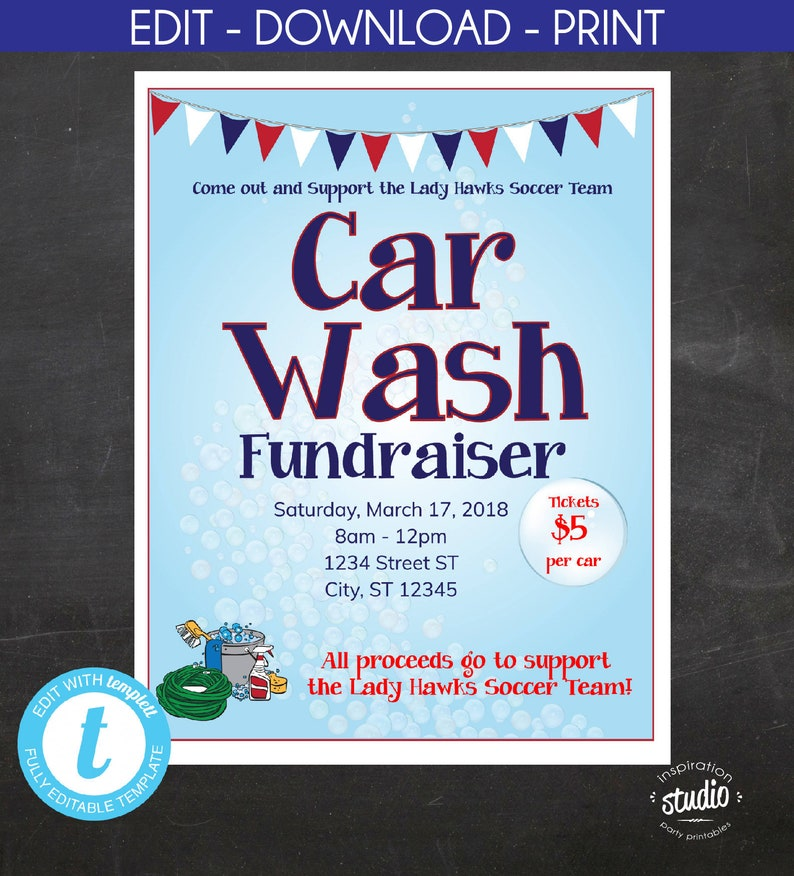 Car Wash Fundraiser Flyer School Flyer Church Flyer Sport Etsy