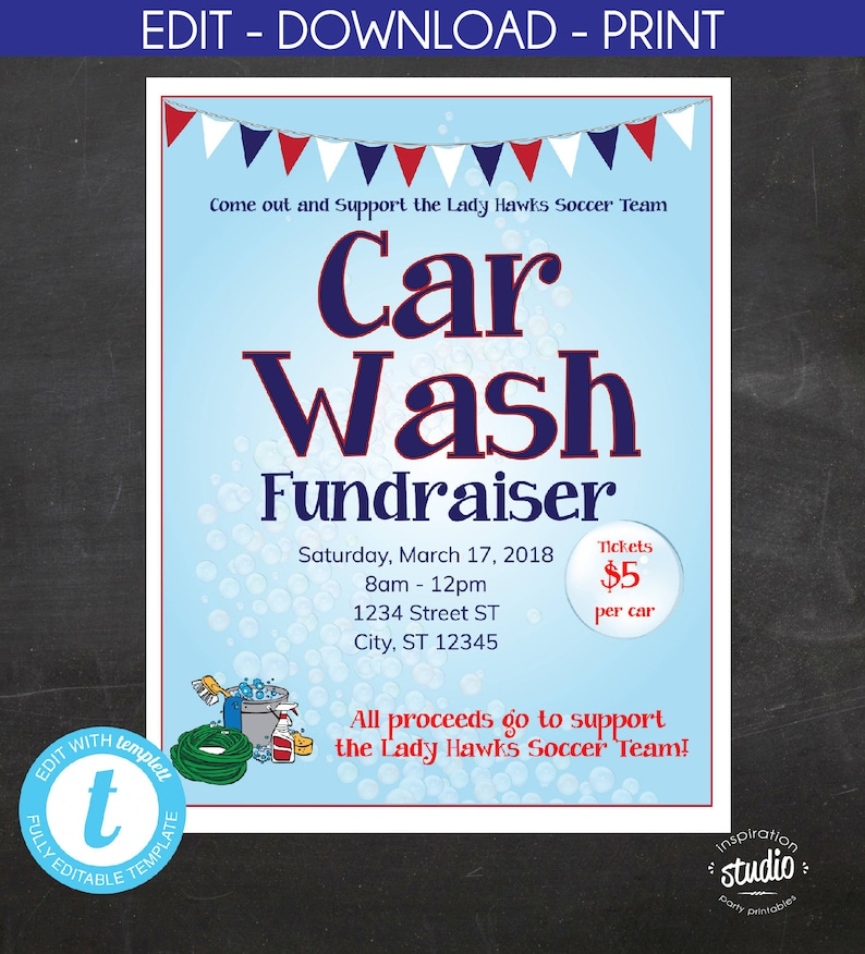 Car Wash Fundraiser Flyer School Flyer Church Flyer Sport Flyer Car Wash Social Media Graphic Edit Yourself Template Templett