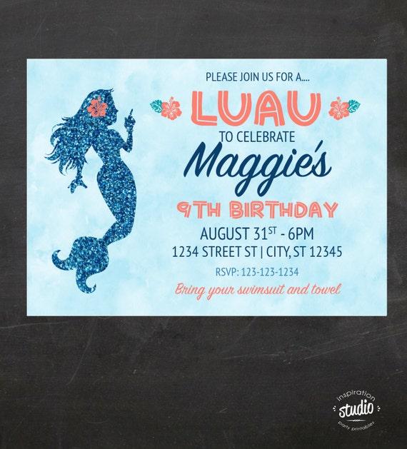 Mermaid Luau Birthday Party Invitation