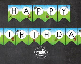 Bug Printable Happy Birthday Flag Pennant Banner -  Instant Download