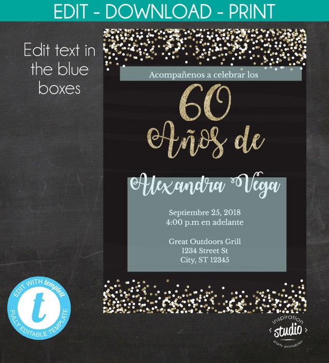 4 Day Sale 60th Birthday Invitation 60 Anos De Spanish Black And Gold Glitter Template 2 Size Options 5 X 7 6 Edit Yourself