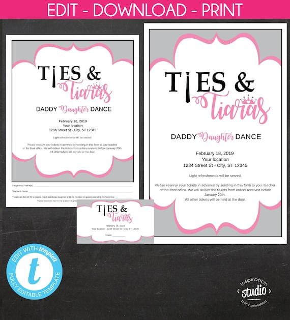 photo relating to Printable Tiaras named Ties and Tiaras, Dad - Daughter Dance, Daddy - Daughter
