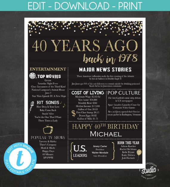 40th birthday poster 1978 poster back in 1978 customized etsy