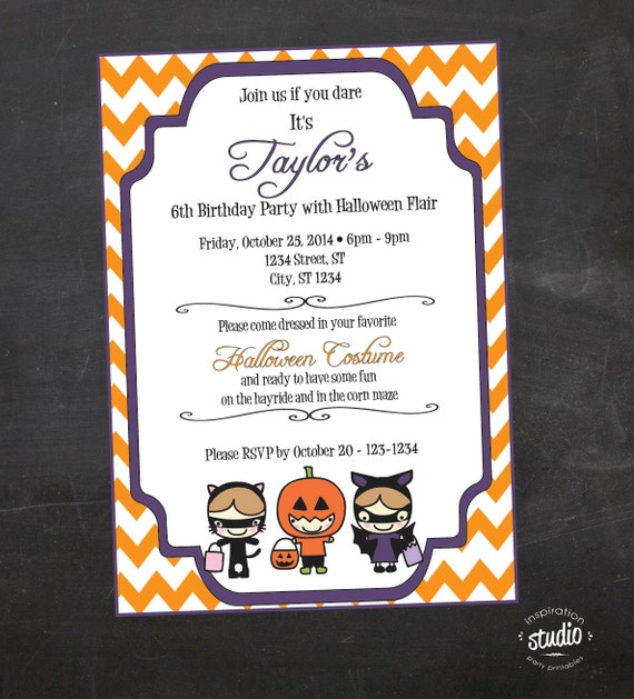 Halloween Birthday Party Invite Kids Costume