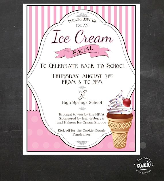 ice cream social event flyer back to school ice cream social