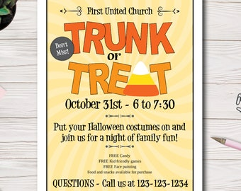 Trunk or Treat, Halloween Event Flyer, Custom, Printable, Church event, PTO Flyer, PTA Flyer, Edit yourself, Easy to use Template