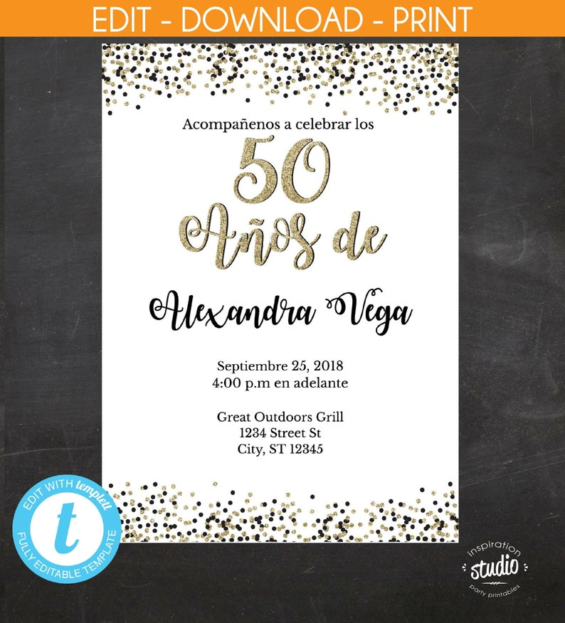 50 Anos De Spanish 50th Birthday Invitation White With