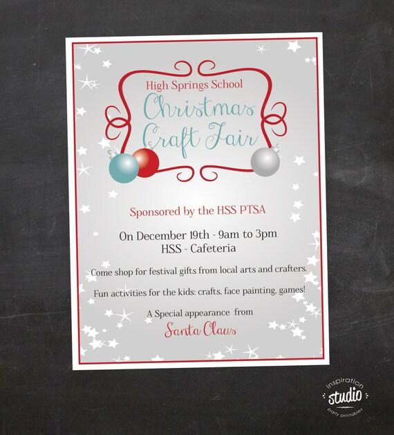 Christmas Craft Show Flyer.Christmas Craft Fair Flyer Event Custom Printable Pta Flyer Pto Flyer Church Flyer Color Or Black And White