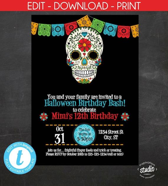 Sugar Skull Birthday Invitation Halloween Invite Day Of